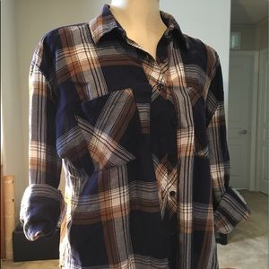 Plaid Long Sleeve Button Front Top